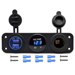 Voltmetr, 2x USB, CL auto-zásuvka do panelu