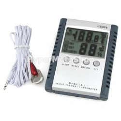 Digitální teploměr - vlhkoměr, měřící venkovní a vnitřní teplotu.