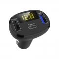 USB-C auto-nabíječka voltmetr s rychlo-nabíjením QC 3.0