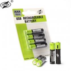4ks ZNTER nabíjecí baterie AAA 400mAh USB 1.5V